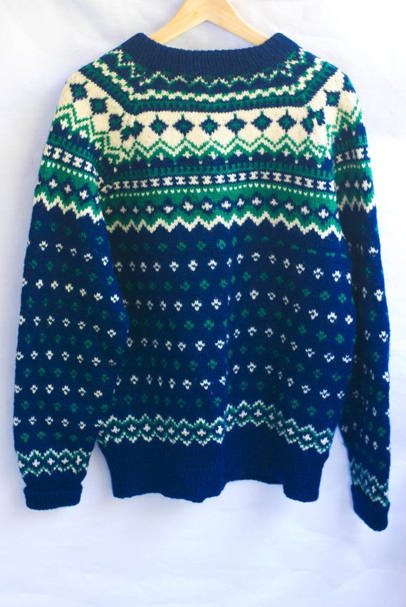 Vintage Nordic 60s Wool Hand knitted Sweater/ by Thespiffjunction
