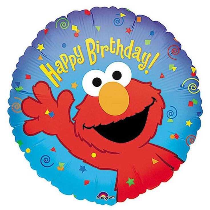"""Elmo Sesame Street Party Supplies- Elmo Round """"Happy Birthday"""" Foil Balloon 45cm"""