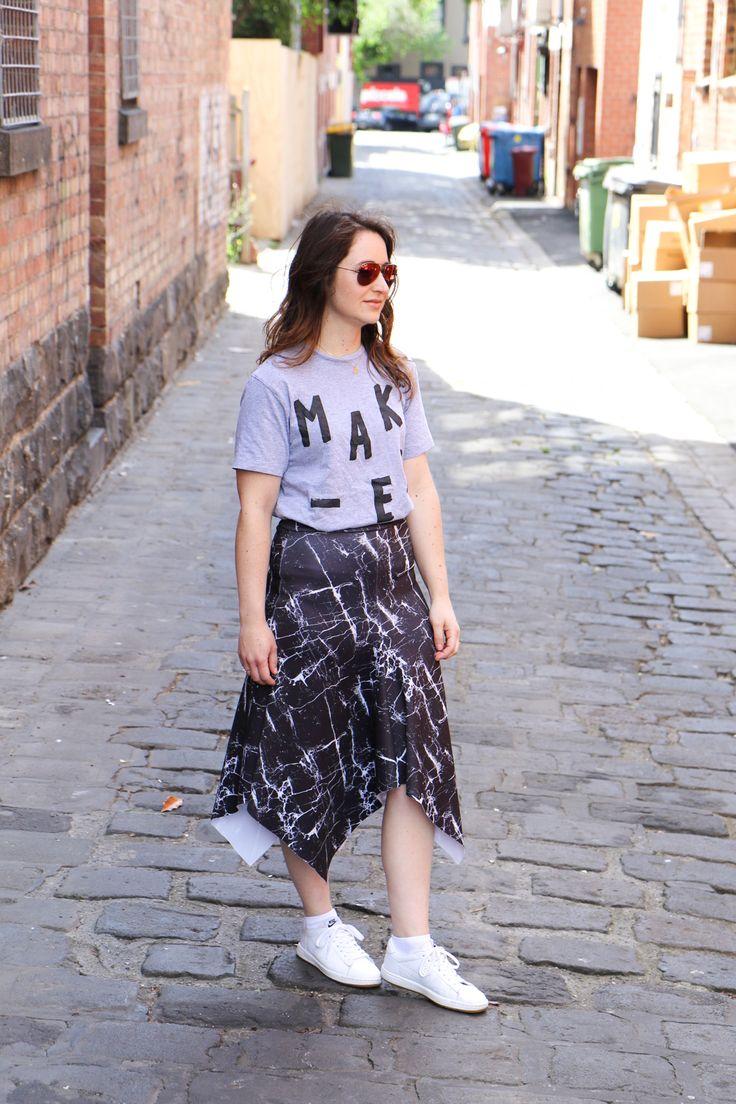 Megan Nielsen Axel skirt in Mood fabrics marble scuba fabric