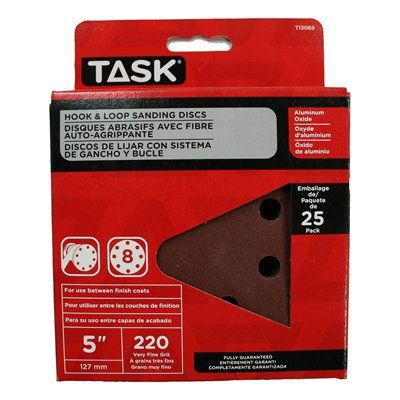Task Tools T13065 Hook and Loop 8 Hole 220 Grit Disc (25 Pack)