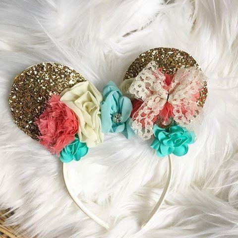 floral mini mouse ears - minnie mouse headband glitter ears