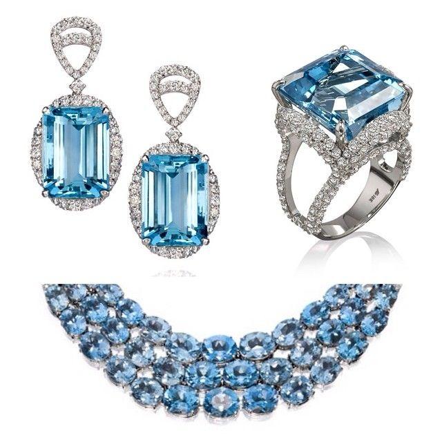 Blue mood!  Detalhe dos brincos e anel de agua marinha combinados com colar em degrade de topazios azuis #somethingblue #colecaosultana #aguamarinha #topazioazul #amsterdamsauer