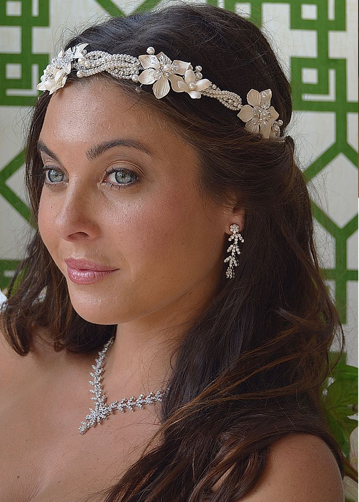 Floral Pearl And Rhinestone Bridal Headband And Jewelry Set