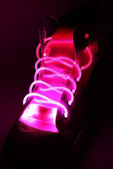 Vilkkuvat LED-Kengännauhat -Pinkki | Cybershop