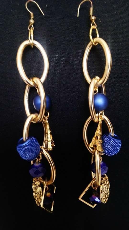 Handmade long earrings designed by Elli lyraraki
