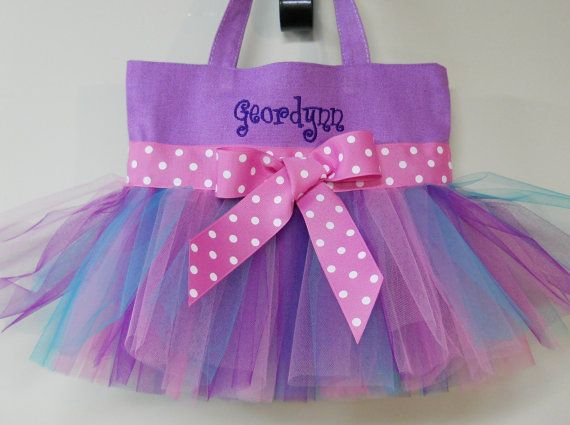 Children's Embroidered Dance Bag - Purple Tote Bag with Purple, Teal and Pink Tulle and Pink Ribbon Tutu Tote Bag - TB249 - CH on Etsy, $26.00