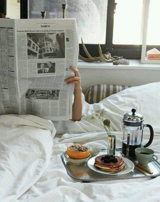 A few times during the book, Victoria reads press clippings in bed.