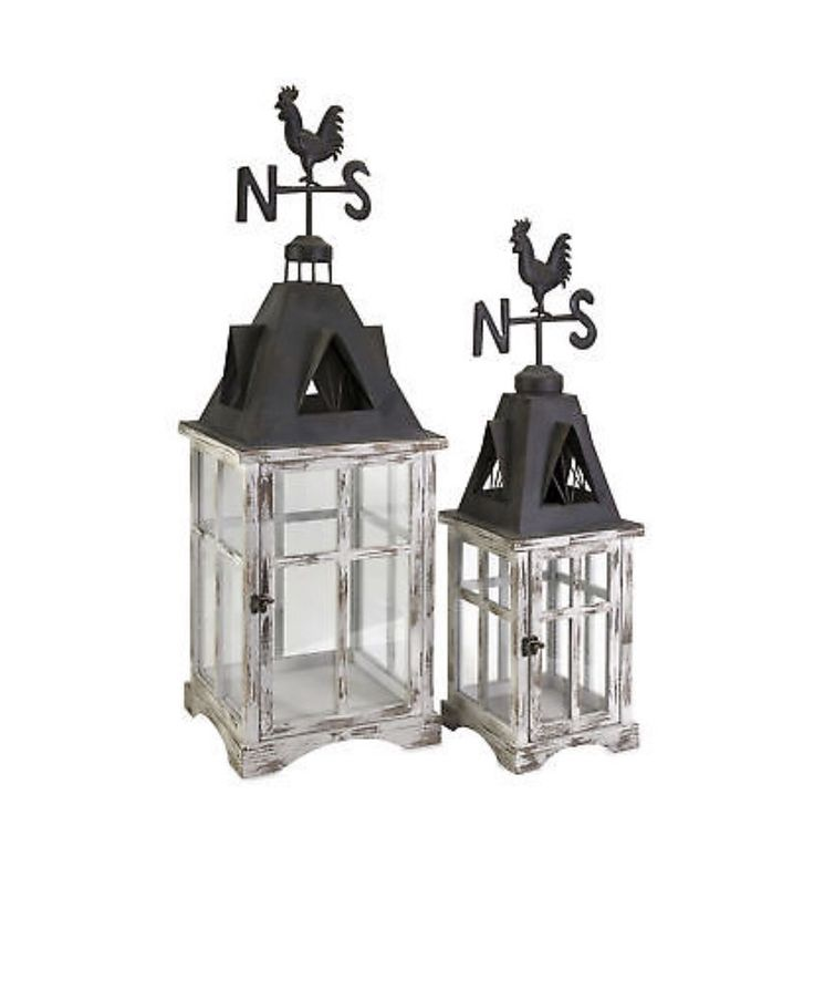 Rooster Weather Vain Lantern - Set Of 2 – Avenue of Oaks Decor