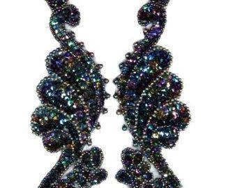 0016 miroité argent noir paire paillettes perles par gloryshouse