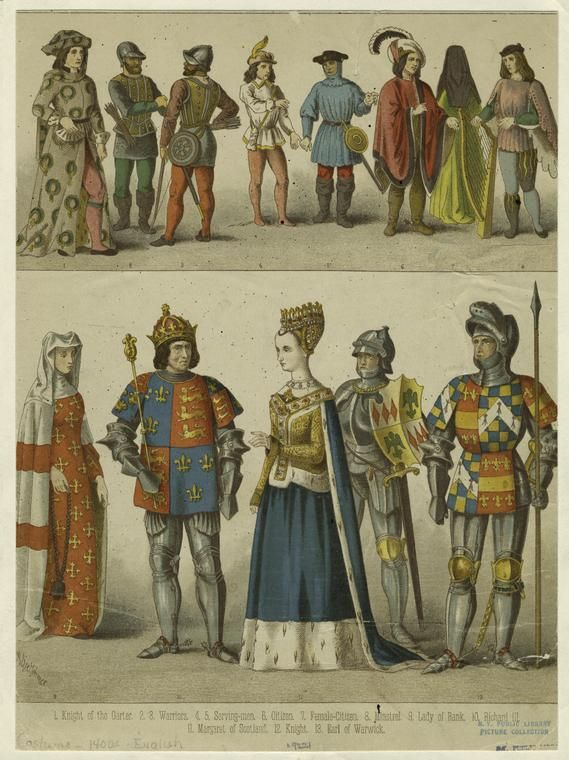 Knight of the Garter ; Warriors ; Serving-men ; Citizen ; Female-citizen ; Mistrel ; Lady of rank ; Richard III ; Margaret of Scotland ; Knight ; Earl of Warwick.