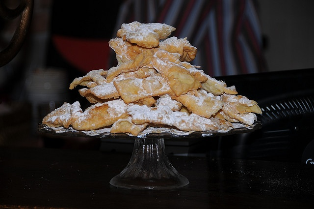 These Polish pastries were a particular treat when I was growing up. Despite requiring quite a few egg-yolks, they have a wonderful light, almost ephemeral quality to them. (And they become literally ephemeral if they're put near me, because they com