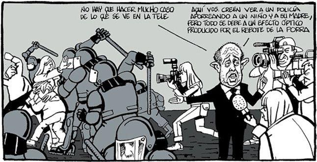 Felip Puig y los Mossos d'Esquadra protagonistas de la viñeta de Ferreres