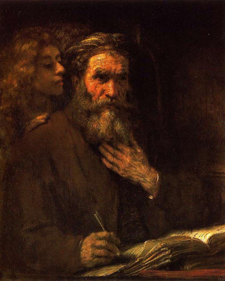 """São Mateus e o Anjo"". (by Rembrandt Harmenszoon van Rijn)."