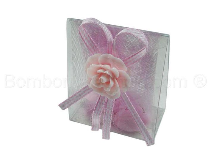 Bustina in pvc con applicazione bocciolo colore rosa