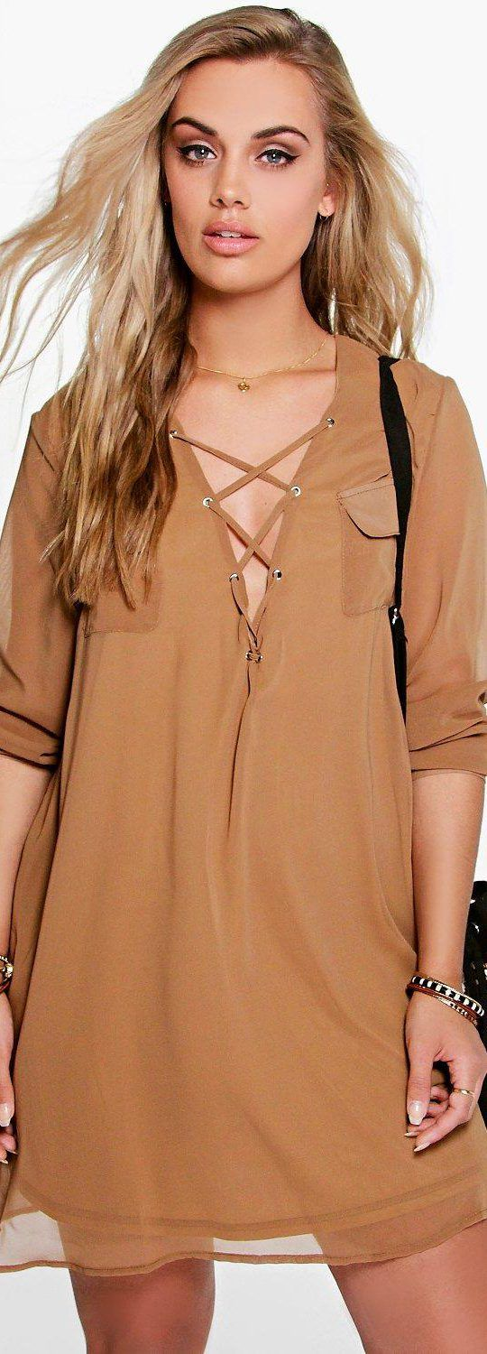 Plus Maya Lace Up Utility Dress - Dresses - Street Style, Fashion Looks And  Outfit