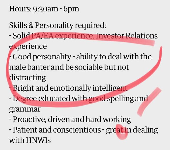 A friend just sent this. Just been posted on @GuardianJobs I have no words. #timesup #rapeculture