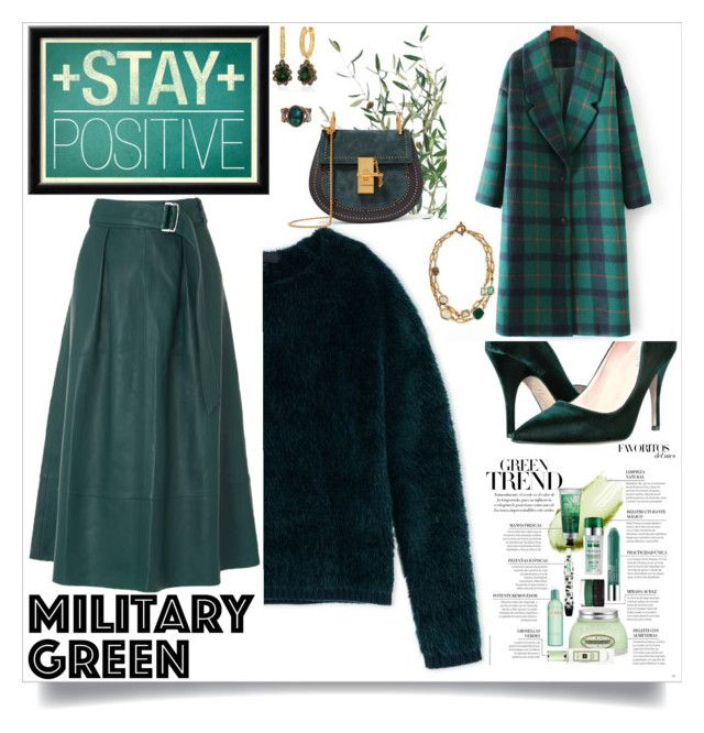 """""""Leather Skirt Green"""" by ann-kelley14 on Polyvore featuring Kate Spade, NDI, Burberry, L.K.Bennett, LE VIAN, Stephen Dweck and Chloé"""