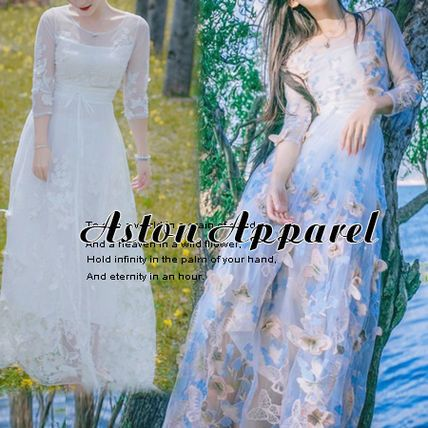 全4色 ロングドレス 七分袖 バタフライ パーティー フェミニン