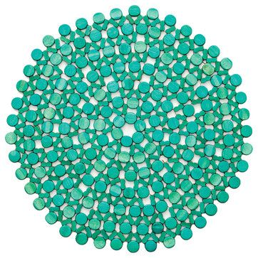 Turquoise Round Bamboo Placemat transitional table linens