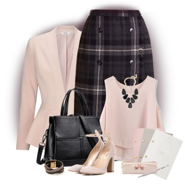 Plaid in the Office by lorrainekeenan on Polyvore featuring Chicwish, Miss Selfridge, Valentino, Kendra Scott, StudioSarah, Ted Baker and Swarovski
