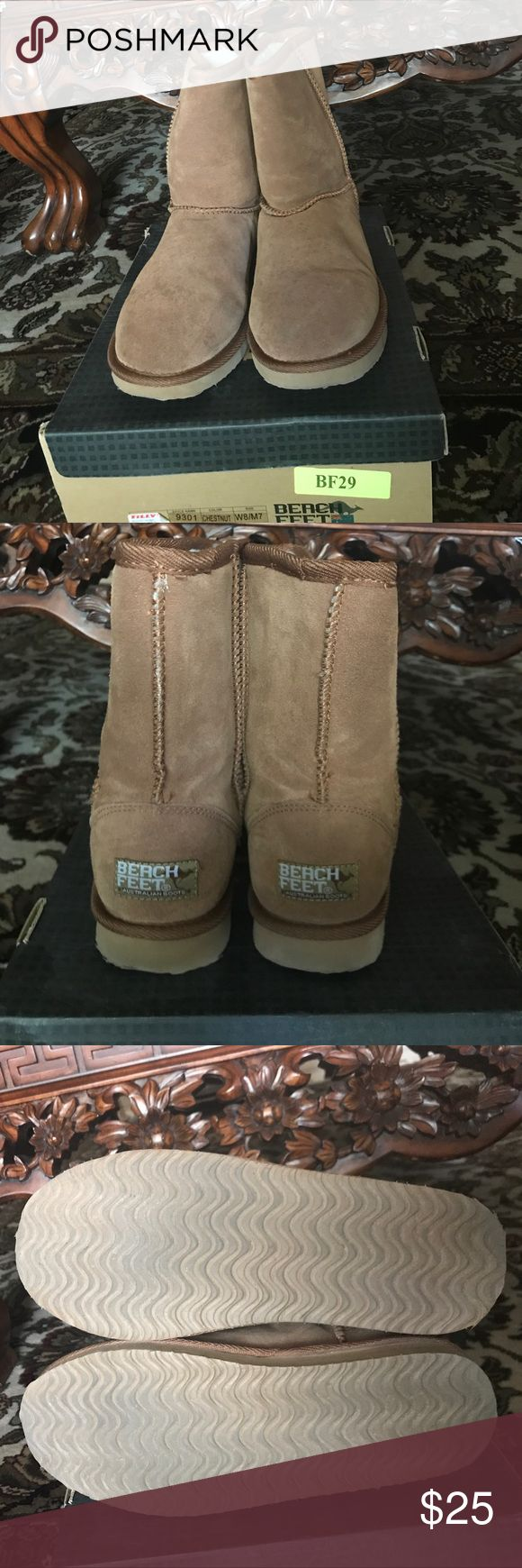 Stay Warm with Winter Boots from Beach Feet. Sz 8. Gender neutral boots in a chestnut (Tan). Gently worn. These were bought at Tully's. Box included. Tilly's Shoes Winter & Rain Boots