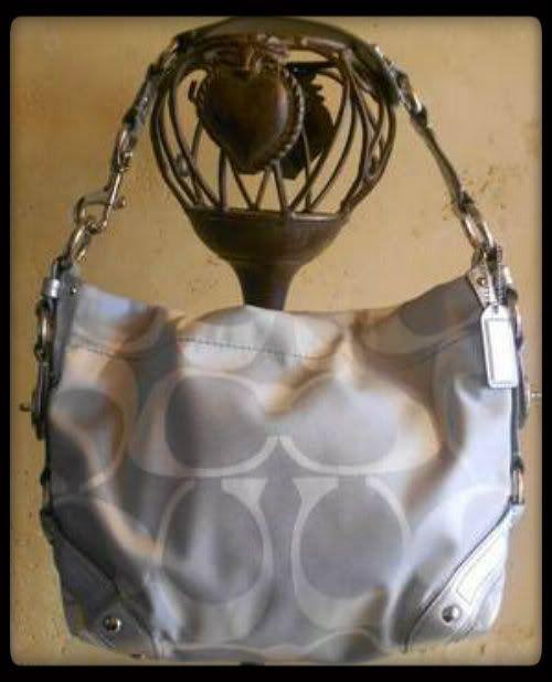 EUC Coach Signature Medium Carly Silver/White Special Edition Shoulder Bag 10619
