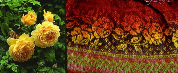 Жаккард с розами пальто вязанное