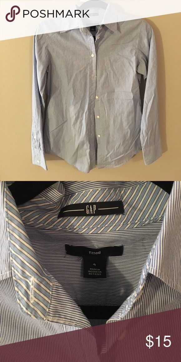 Blue and white Gap Button up Great for professional attire! GAP Tops Button Down Shirts