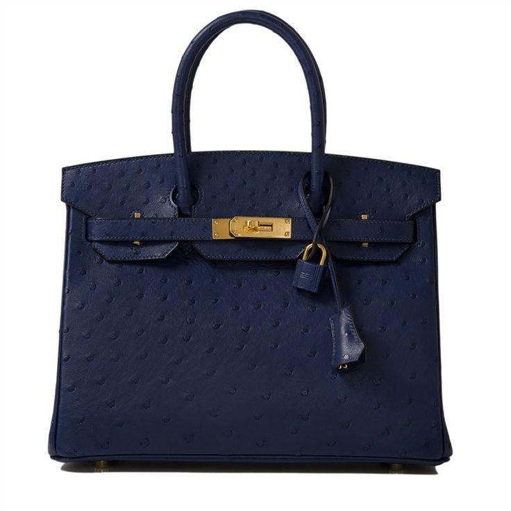 fake birkin bags - Hermes Blue Iris Birkin 30cm of Ostrich leather with gold hardware ...