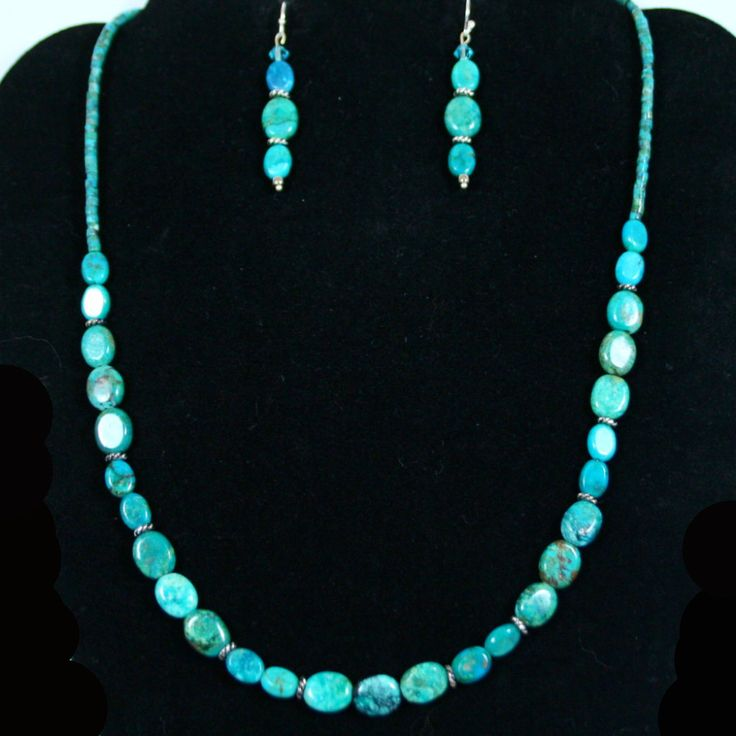 """""""Turquoise Waters Jewelry Set"""" with Real Turquoise Oval & Heishi Beads pair with Antique Silver Twist Heishi beads in this stunning 20"""" Necklace Set. Antique Silver EZ Toggle Clasp to close. See Necklaces & Earrings for more details. Only at: http://americanjewelryvision.com/products/turquoise-set-blue-stone-silver-necklace-earrings-jewelry-womens-jewelry-fashion-jewelry-gift-artist-costume-designer-fashion-hand-crafted-made-in-usa-made-in-america"""