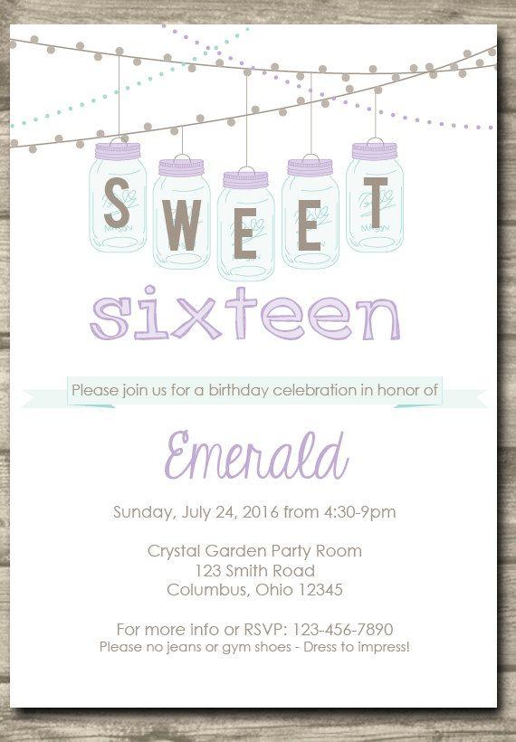 Printable Vintage Sweet 16 Birthday Invitation by itsJUSTmyTYPE