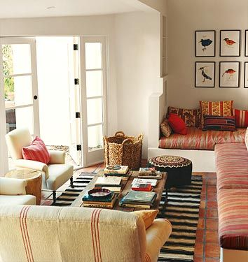 amanda peet's boho chic living room