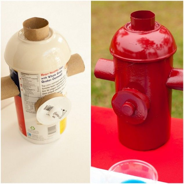 Fire hydrant DIY. Oatmeal container, paper towel roll, empty ribbon spool, and a water bottle cap. Piece together and spray paint.