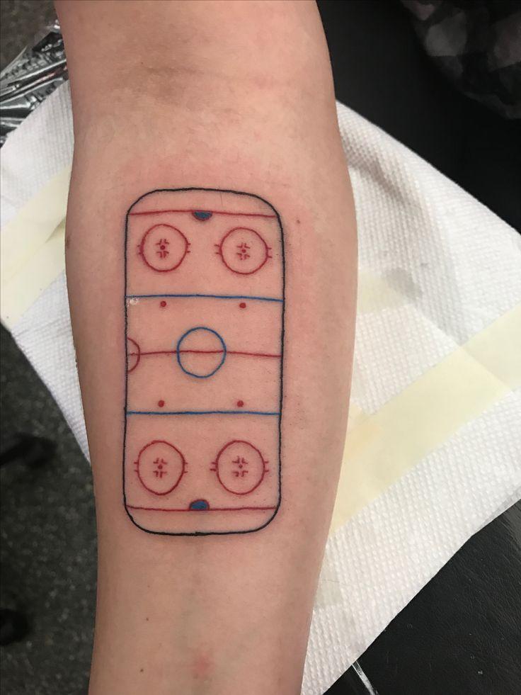 Hockey rink outline tattoo