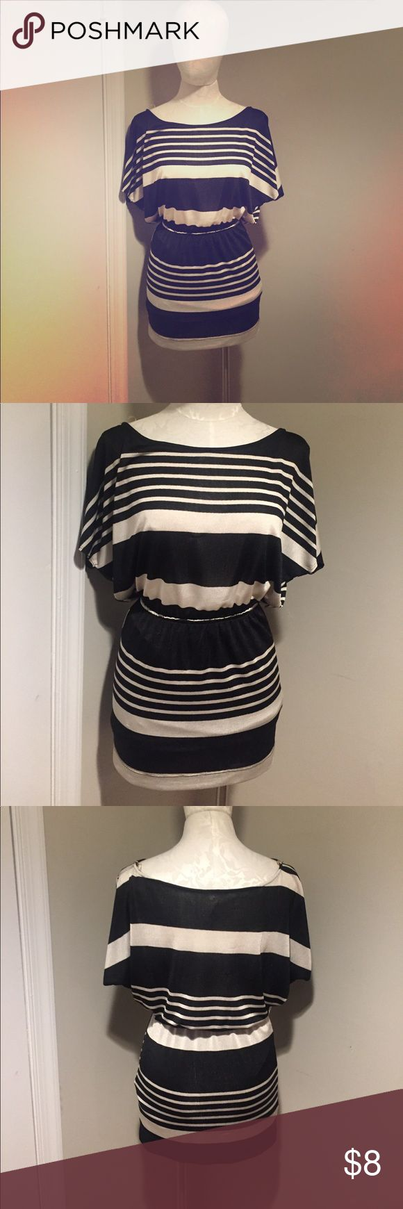 Black and cream striped mini dress! Black and cream Lovely Day dress! This well loved mini dress has some snags as evidenced by the photos but would be quite easy to repair! lovely day Dresses Mini