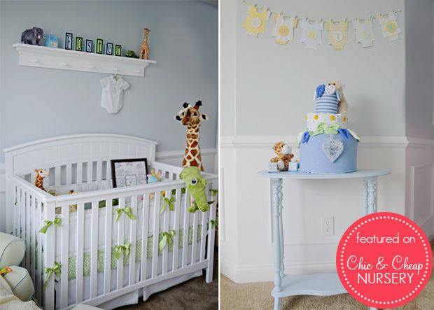 white and blue traditional boy nursery baby room
