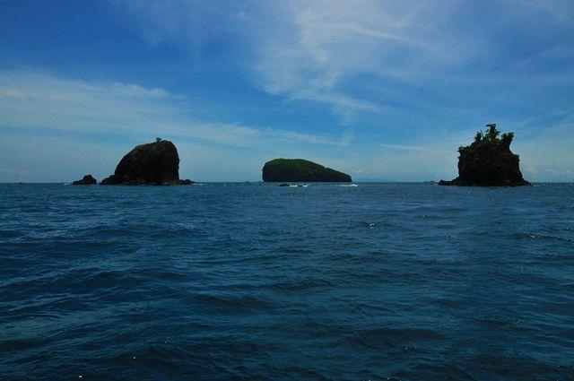 View at the Islands Biaha, Tepekong and Mimpang, along the coast of Candidasa, Bali