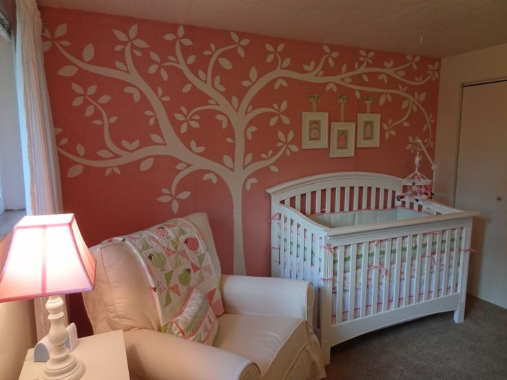 The tweet est nursery coral walls baby girls and girls for Coral walls living room