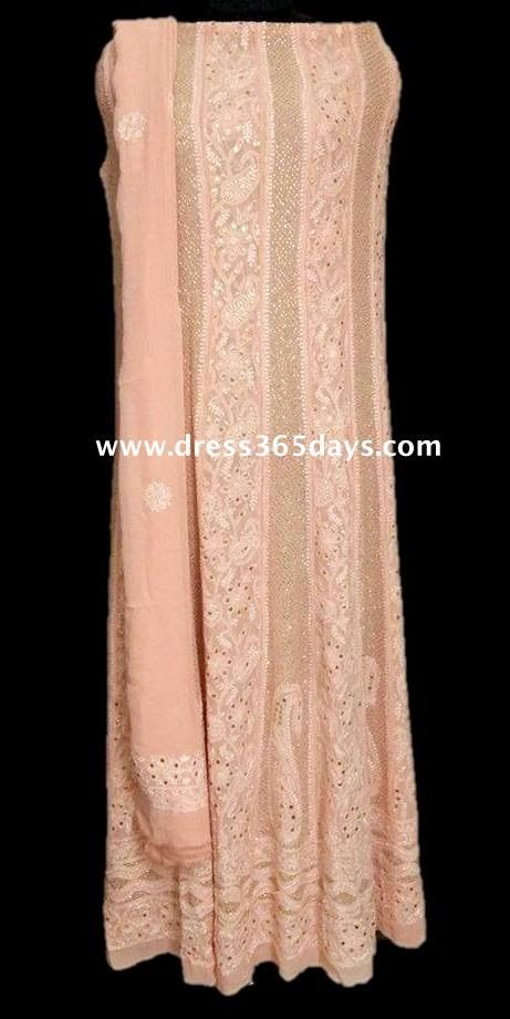 Pure Georgette Heavy Anarkali with Golden Mukaish(Two Piece)