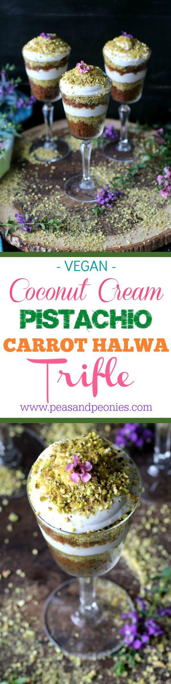 Vegan Carrot Halwa Coconut Cream Pistachio Trifle - Peas and Peonies
