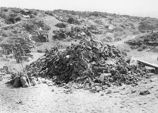 A pile of Australian soldiers' equipment photographed in Brown's Dip behind Lone Pine on 10 August 1915, the day after the end of the battle. This melancholy image suggests the large number of Australian dead and wounded suffered at Lone Pine, somewhere in the region of 2,000 men. One of the great tragedies of the battle was the way in which narrow trenches became clogged with the wounded, the dying and the dead. Sergeant Cyril Lawrence of the Australian Engineers was in Brown's Dip on 7…