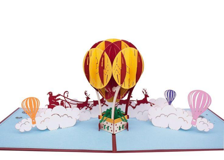 AITpop Fire Balloon (Christmas) hand-crafted greeting card 3D Pop Up Card