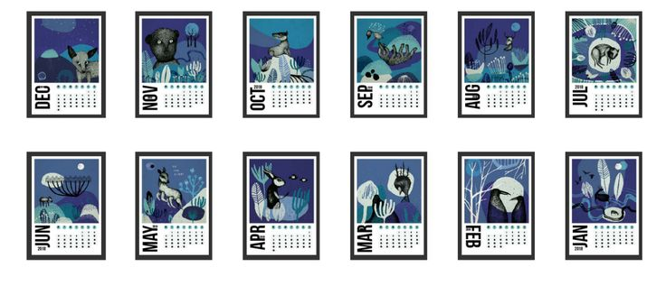 Abstract surreal calendar flowers animals 2018