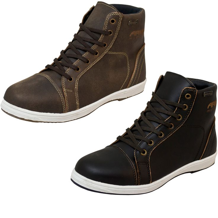 The ARMR Moto Nikko Motorcycle Boots are another great pair of trendy looking boots. They provide all of the protection of a bike boot, even against the weather, while looking like a normal pair of fashionable hightop shoes. Ride on to a friendly gathering and hop off knowing your feet are already dressed for the occassion.