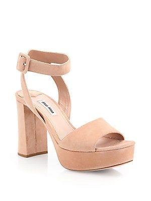 531aa40dc9f9 Miu Miu Suede Ankle-Strap Platform Sandals