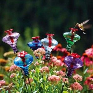 MINI-BLOSSOM Blown Glass Hummingbird Feeder on Stake AQUA- Parasol Nectar Feeder