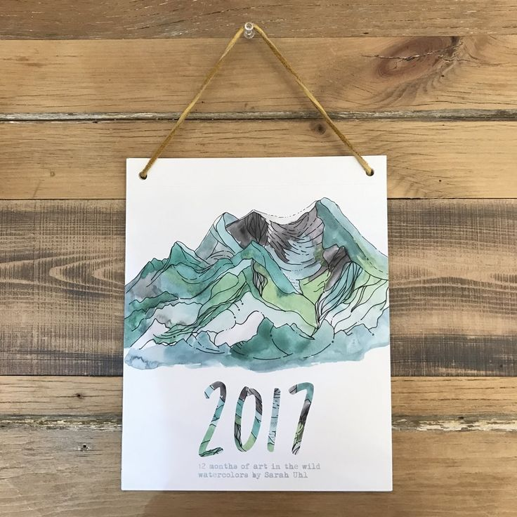2017 Watercolor Calendar.  12 months of art in the wild watercolors by Sarah Uhl.  8x10 inch high quality fine art prints strung with leather cord. Each  month is perforated so you can remove and re-purpose the art.  Inspiration for the art was born out of the following places and the people  that sat beside me to take in their beauty: Mount Hood, Mount Sopris,  Castle Valley, Buffalo Pass, Capitol Peak, and Mount Crested Butte. The  Rest came from my imagination.  Wholesale pricing…
