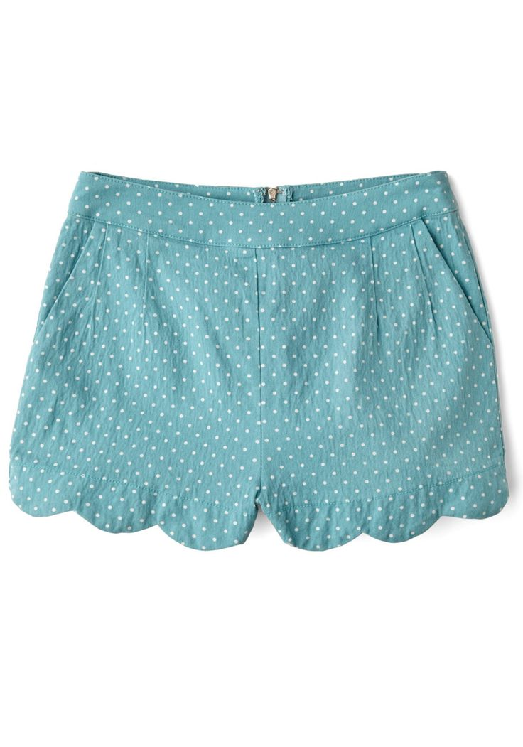 Darling Day Away Shorts in Turquoise Dots. A quick trip has never been more fun, thanks to these dotted shorts! #blue #modcloth