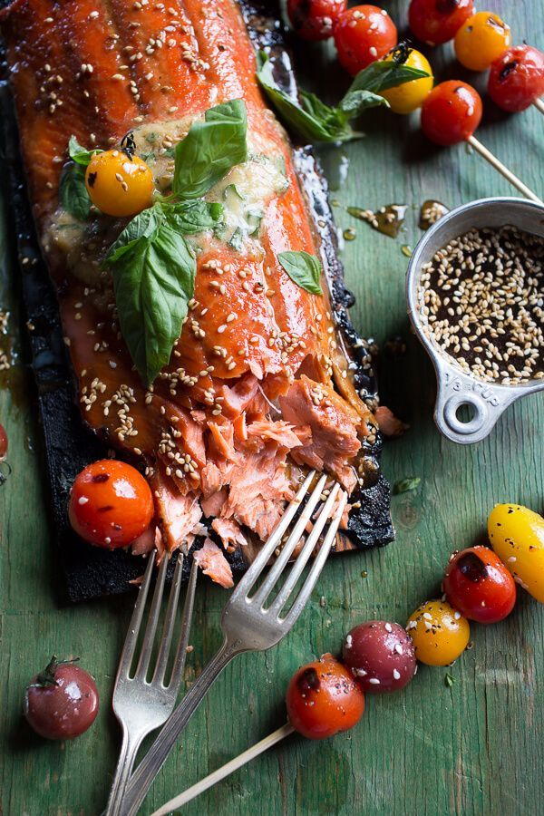 Cedar Plank Grilled Sesame Salmon with Kimchi Miso Butter and Grilled Tomatoes