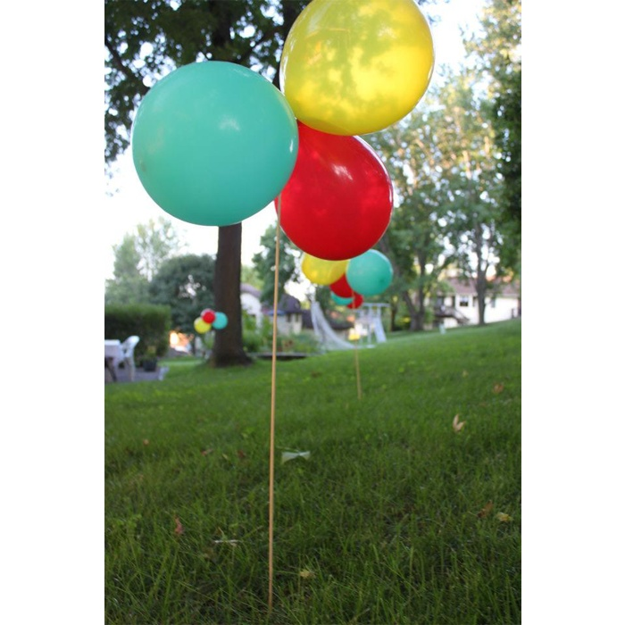 FYI and DIY balloons on a stick!  We may all have to begin using this alternative due to the  helium shortage and thus rising cost of party balloon bouquets ! Party City isn't blowing up balloons at all.